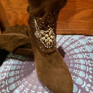 Forever brand brown heeled boots with jewels